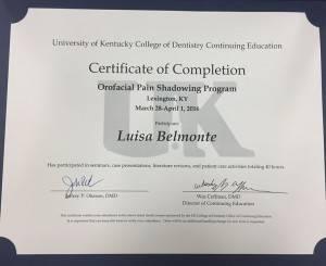 Diploma obtenido por la Doctora Luisa Belmonte en Trastornos Temporomandibulares, Oclusión y Dolor Orofacial